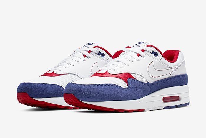 Nike Air Max 1 White Red Blue Cj9927 100 Three Quarter Lateral Shot