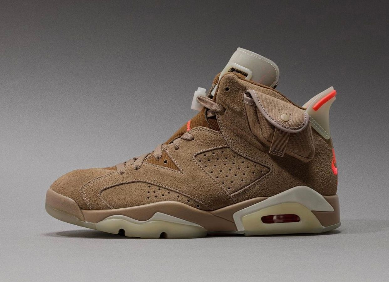travis scott air jordan 6 british khaki on grey