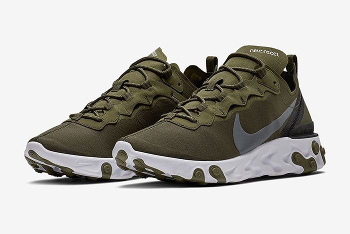 Nike React Element 55 Olive Green White 1