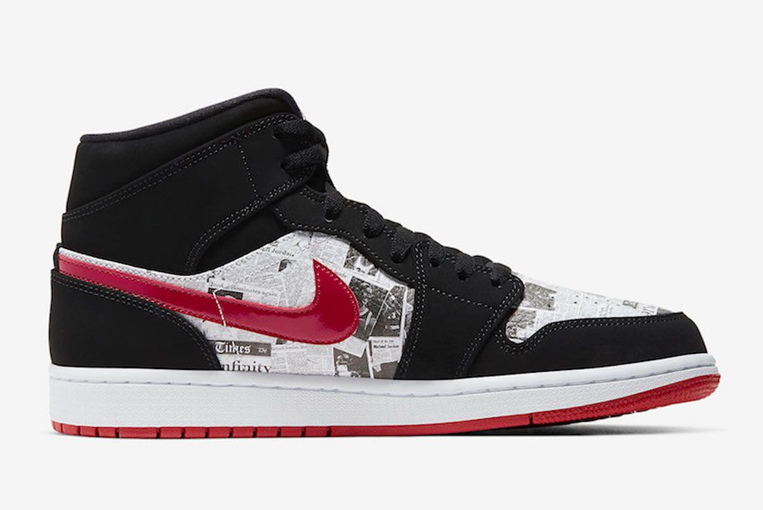 Air Jordan 1 Mid Se Newspaper 852542 061 Release Date 2 Side