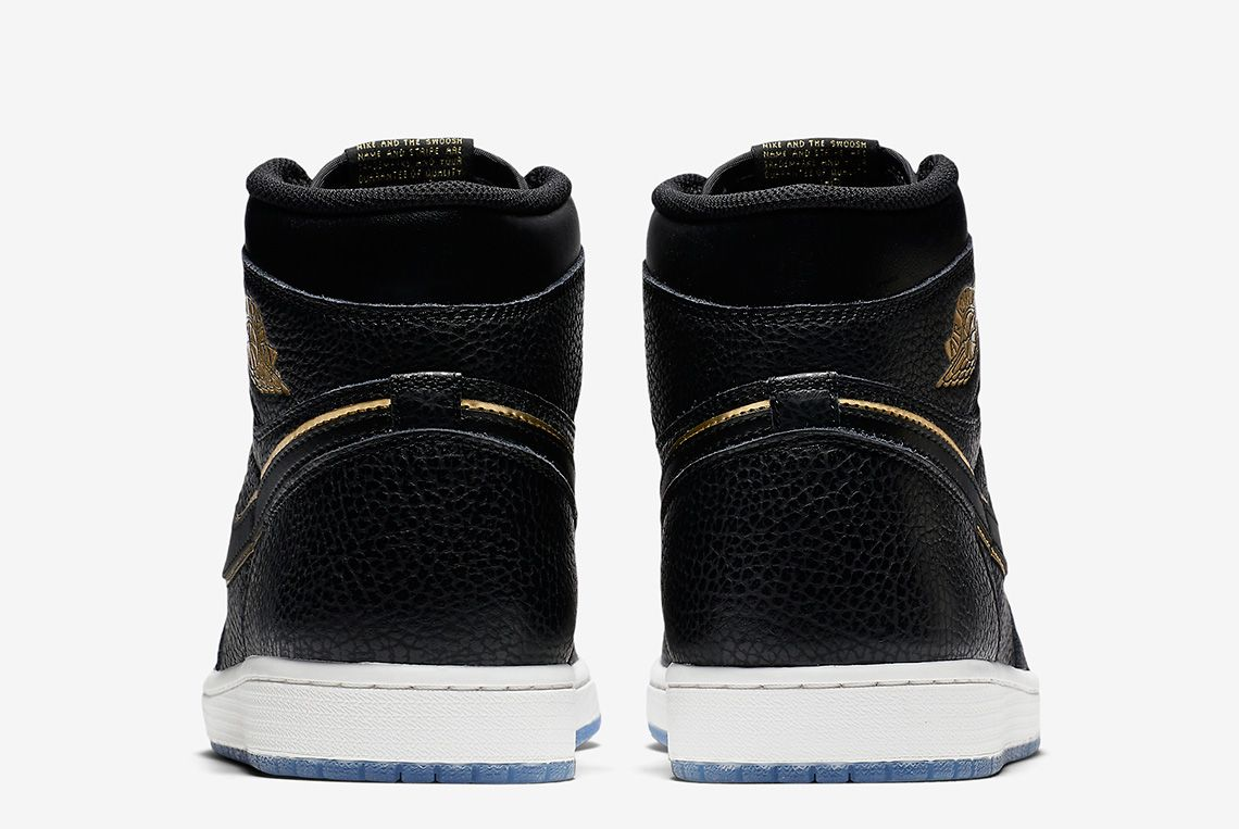 Air Jordan 1 Tumbled Leather Blackgold 2