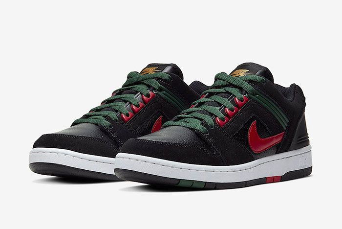 Nike Sb Air Force 2 Low Black Deep Forest Gym Red Ao0300 002 Front Angle