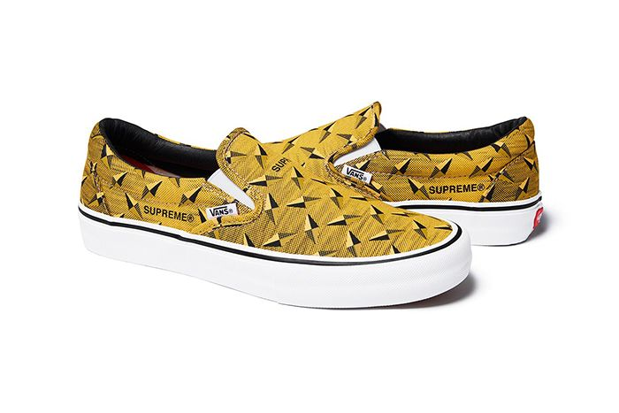 Supreme Vans Slip On Diamond Plate Yellow Release Date Pair