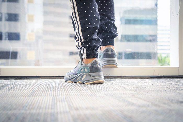On Foot Adidas Yeezy Boost 700 Blue Teal Heel