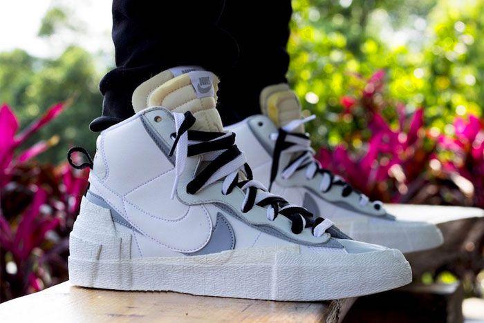 Sacai Nike Blazer Grey Wolf Right