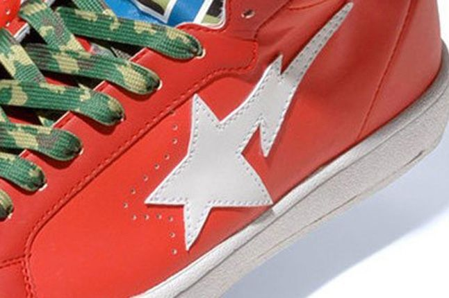 A Bathing Ape 2013 Spring Summer Shark Leather Big Tongue Ultra Skull Sta Red Detail 1