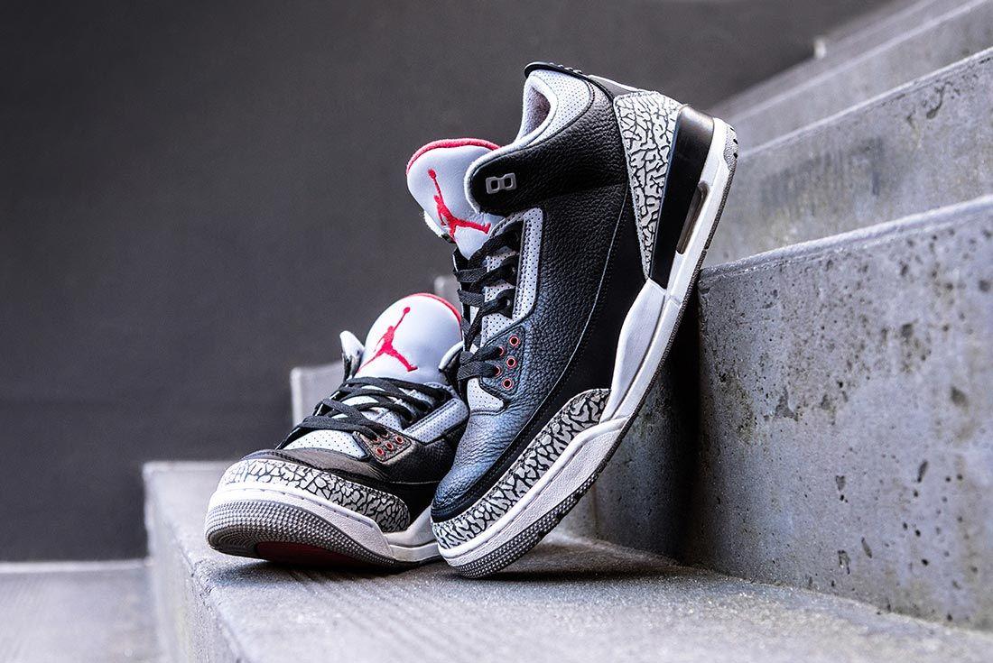 Air Jordan 3 Black Cement Side Toe Box Shot