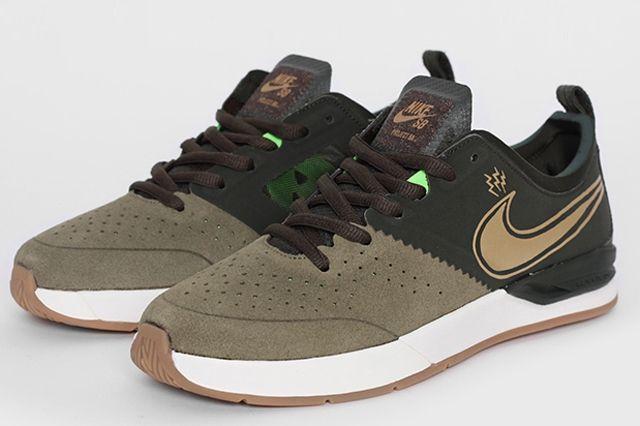 Nike Sb Project Ba Premium Sequoia Metallic Gold Pair