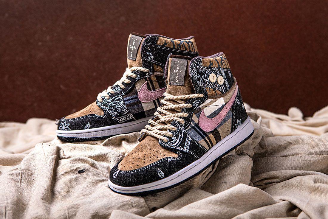 Bespokeind Travis Scott Air Jordan 1 Custom Bandana Sneaker Freaker Hero Shot4