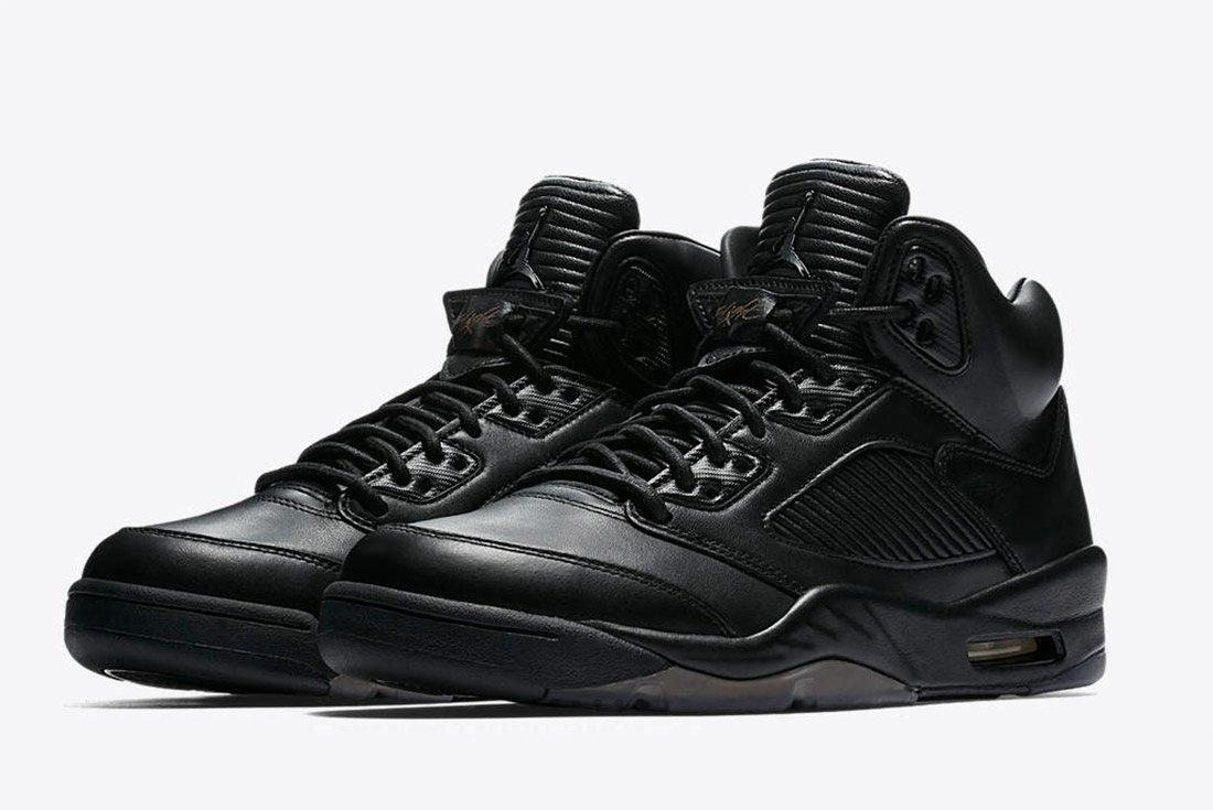 Air Jordan 5 Premium Triple Black Leather 2