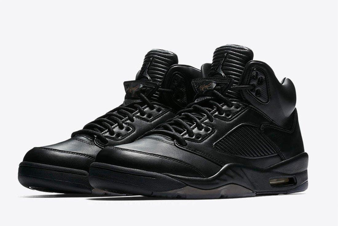 Air Jordan 5 Premium Triple Black Leather 2