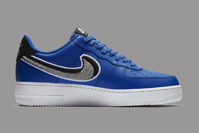Nike Air Force 1 Low 3D Chenille Swoosh Blue 3