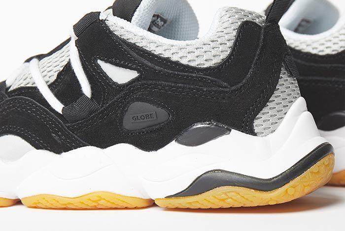 Globe Option Black White Heel Close Up Shot