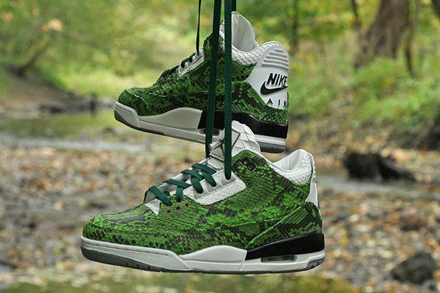 Jbf Customs Jordan 3 Green Python 1