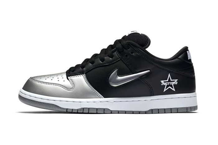 Supreme Nike Sb Dunk Low Black Silver Fall 2019 Snkrs Sneakrs Release Date Lateral