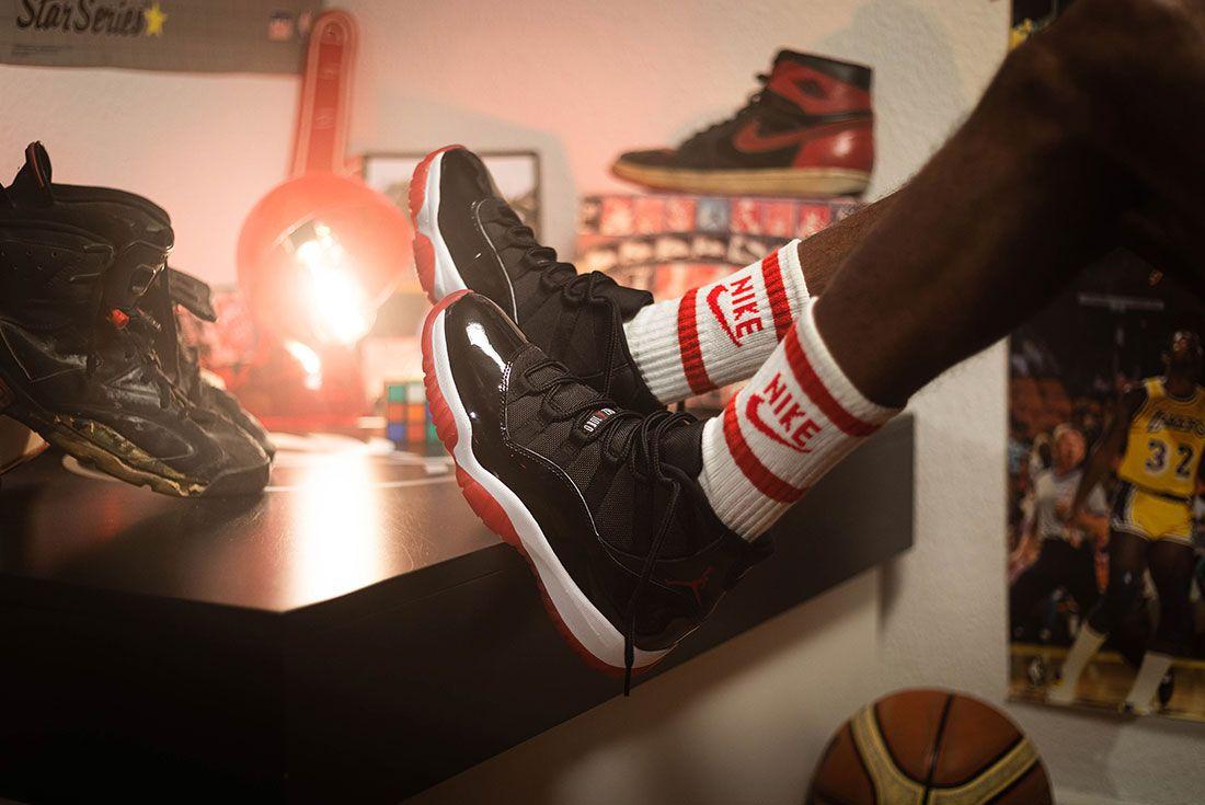 Afew Air Jordan 11 Bred Sway Knight On Foot Socks Table