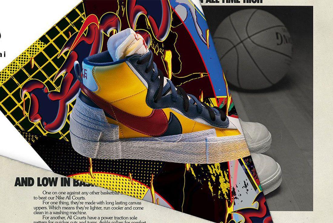 Sacai Nike Blazer Yellow Red Blue Lateral Side Shot