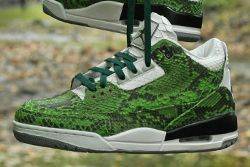 Jbf Customs Jordan 3 Green Python 3