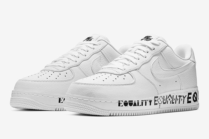 Nike Air Force 1 Equality Aq2118 100 Three Quarter Angle Lateral Side Shot