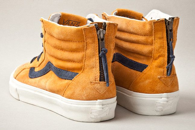 Vans Vault Sk8 Hi Zip Premium Inca Gold Heels 1