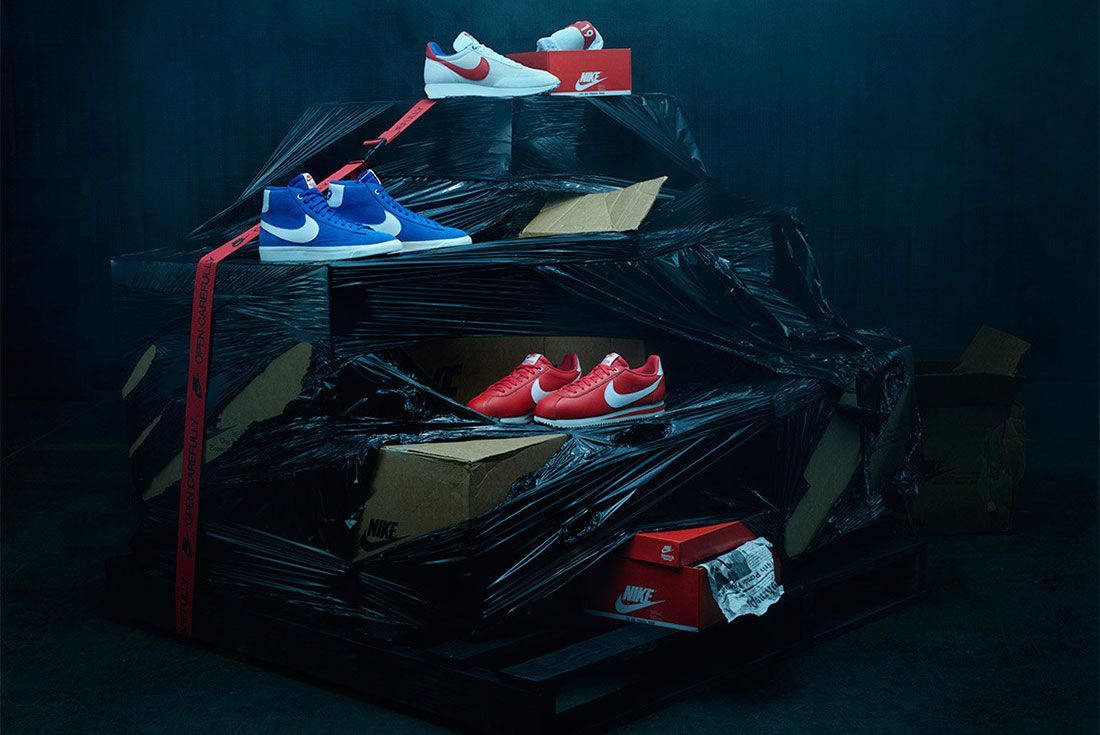 Stranger Things Nike Og Pack Navy Red Independence Day Shoe Collection Front Shot
