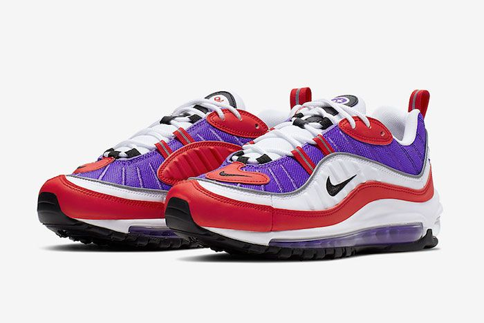 Nike Air Max 98 Psychic Purple University Red Ah6799 501 Release Date 4 Pair Side