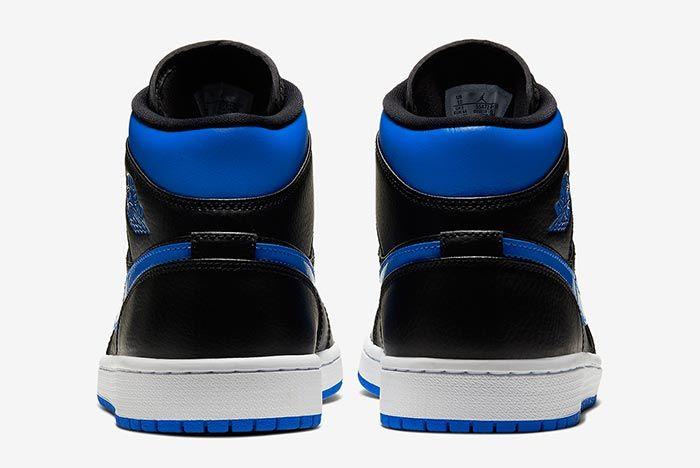 Air Jordan 1 Mid Royal 554724 068 Heel Shot