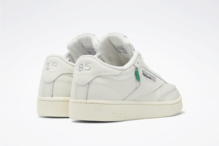 Reebok Club C 85 Chalk Classic White Glen Green Heels