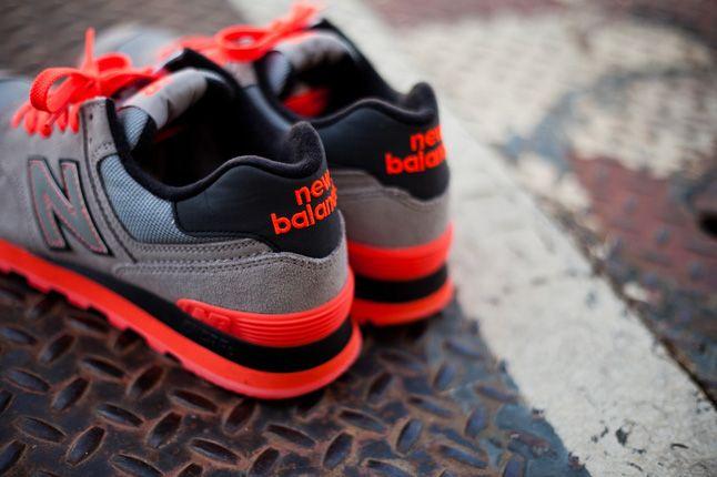 New Balance 574 Infrared Grey Mesh Heels 2