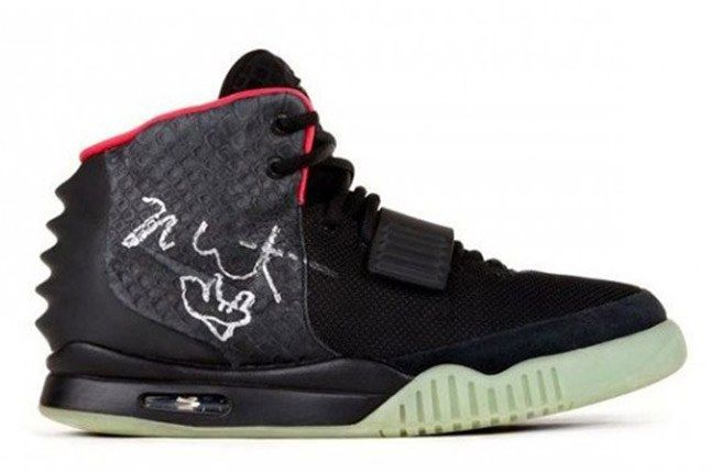 Nike Air Yeezy 2 Autographed Kanye West Worn Charity Pair Lateral 1