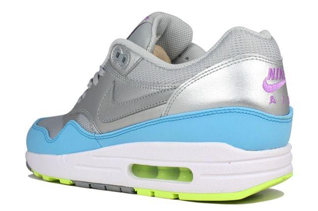 Nike Air Max 1 Fb Metallic Grey Light Blue Volt Quarter Heel 1