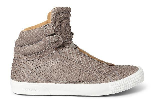 Jimmy Choo Snakeskin Leather High Top Sneaker 1