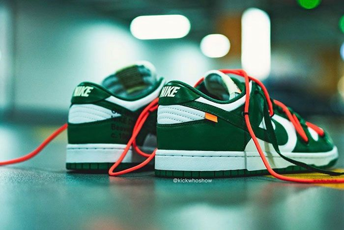 Off White Nike Dunk Low Pine Green Ct0856 100 On Foot Shot3