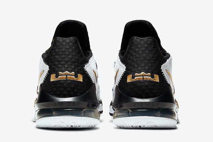 Nike Le Bron 17 Low White Black Metallic Gold Cd5007 101 Heel