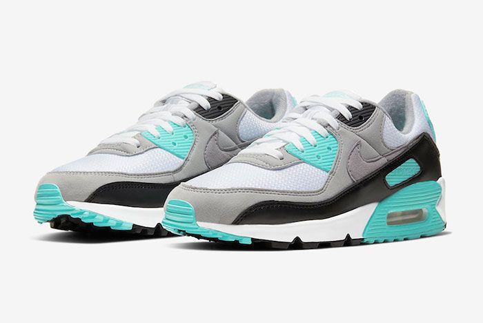 Nike Air Max 90 Hyper Turquoise Cd0881 100 Three Quarter Lateral Side Shot