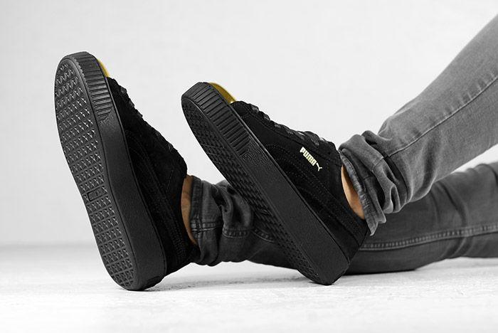 Puma Suede Platform Gold White Black Wmns On Feet 6