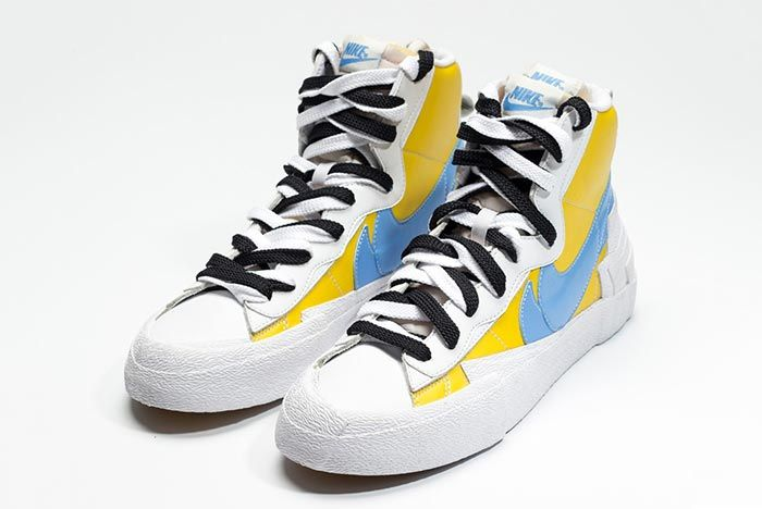 Sacai Nike Blazer Whitebaby Blueyellow Front Angle Shot 6