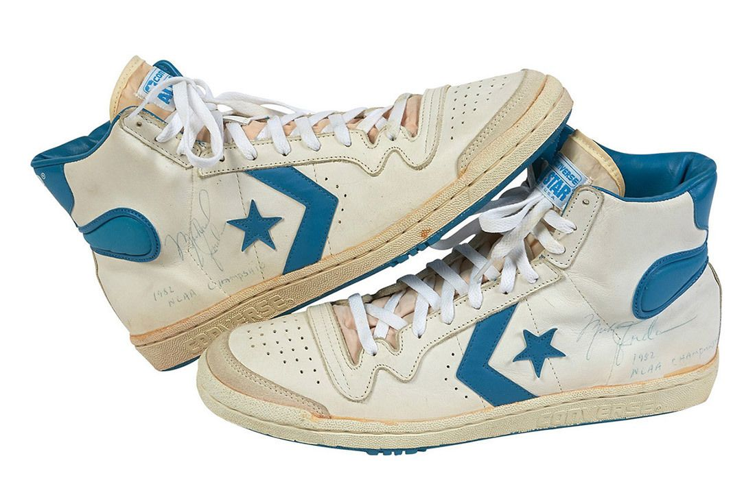 1981 82 Michael Jordan Signed Inscribed Pair Of North Carolina Tar Heel Game Worn Shoes From Freshman Ncaa Championship Season 5