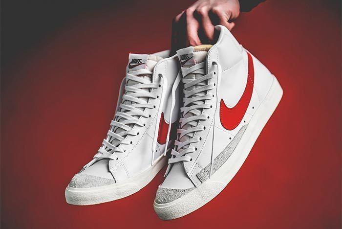 Nike Blazer Mid Vintage 77 Red White Font Shot 1