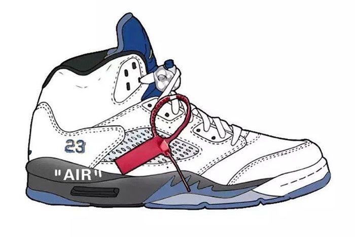 Off White Air Jordan 5 Blue Right