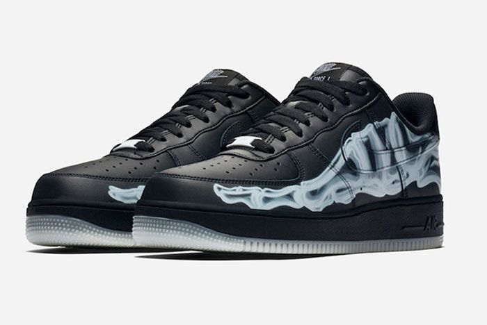 Nike Air Force 1 Black Skeleton Toe