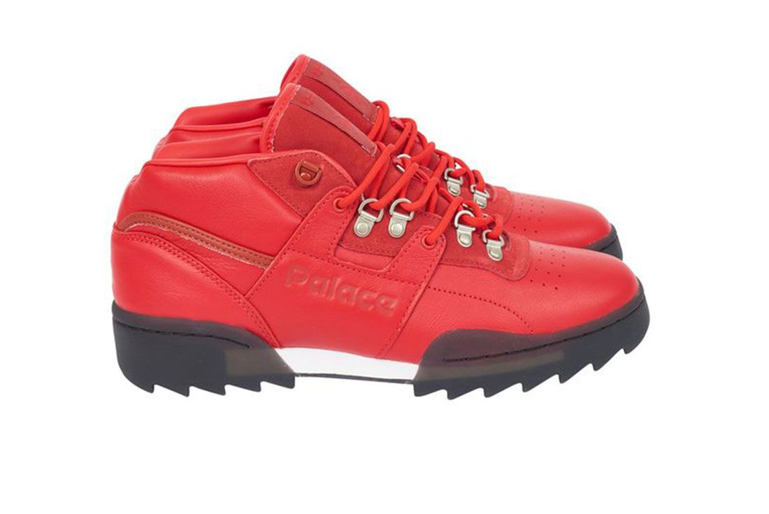 Palace Reebok Classic Workout Mid Ripple Red Lateral Side Shot