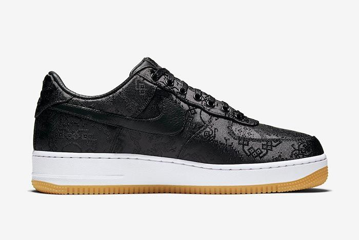 Clot Fragment Nike Air Force 1 Black Satin Right Side Shot