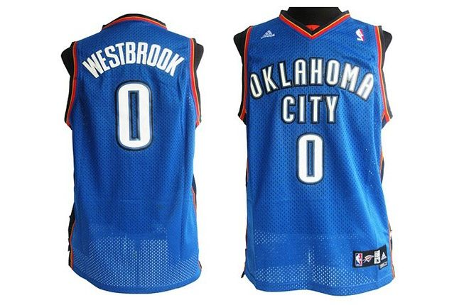Oklahoma City Thunder 0 Russell Westbrook Stitched Blue Jersey 1