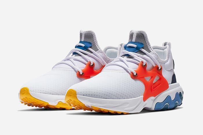 Nike Air Presto React Red White Blue Right Three Quarter Shot