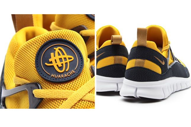 Nike Free Huarache Light Flat Gold Heel 1