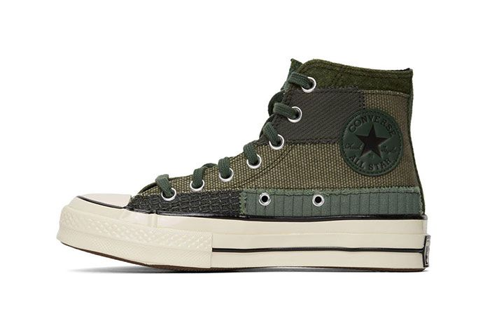 Converse Patchwork Chuck 70 High Sneakers Green Medial