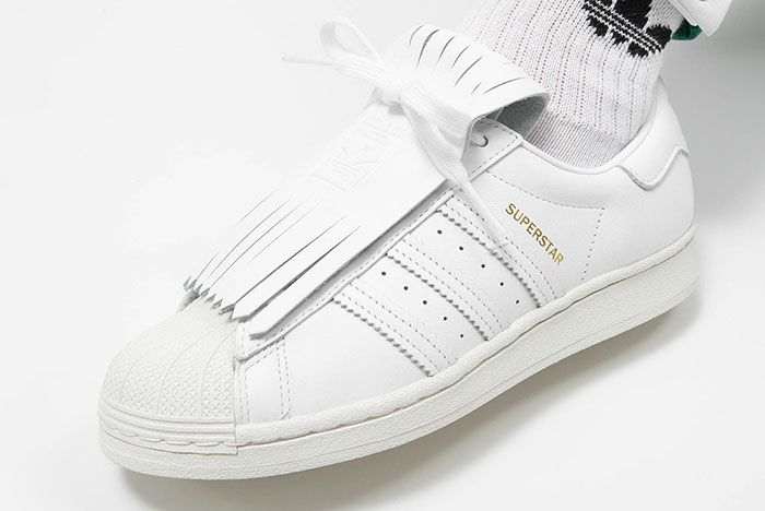 Adidas Superstar Fringe Kiltie Fv3421 On Foot Angle