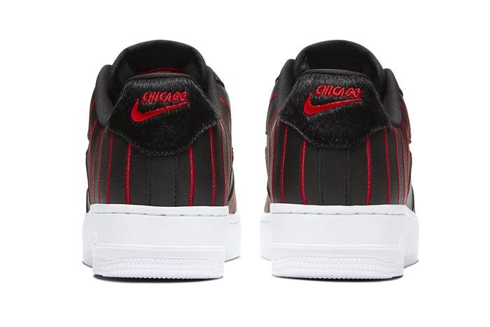 Nike Air Force 1 Jewel Black University Red Heels