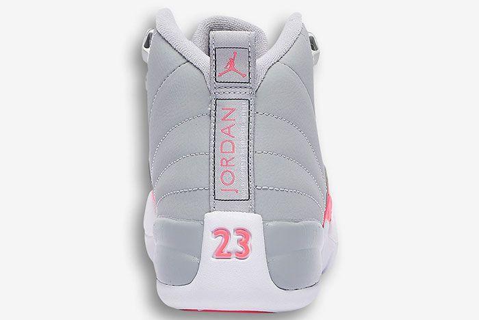 Air Jordan 12 Girls Wolf Grey Racer Pink 510815 060 3 Heel
